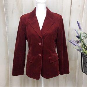 Cabi Poet Burgundy Velvet Crush Embroidered Blazer
